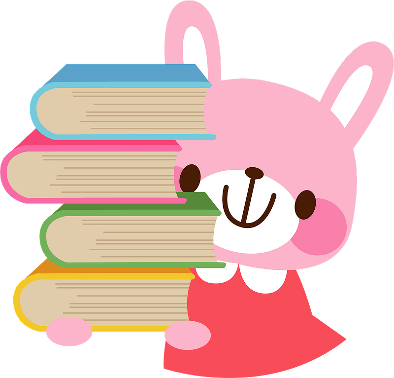 Bunny holding books