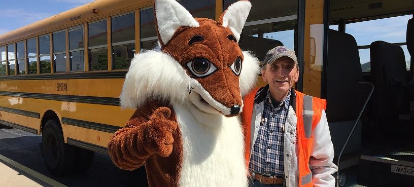 fox with bus driver